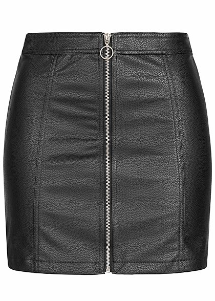 Seventyseven Lifestyle Damen Fake Leather Zip Skirt schwarz