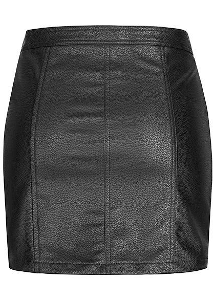 Seventyseven Lifestyle Damen Fake Leather Zip Skirt schwarz
