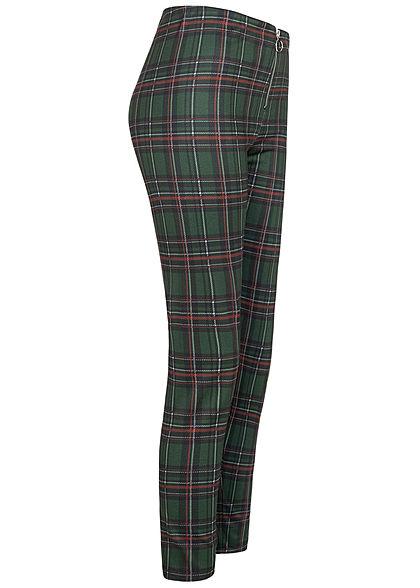 Seventyseven Lifestyle Damen Skinny Hose Zipper vorne Karo Muster dunkel grün