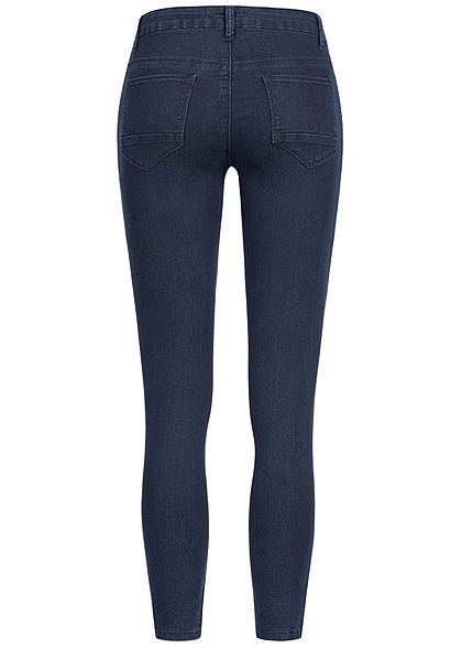 Seventyseven Lifestyle Damen Skinny Zip Jeans 5-Pockets dunkel blau denim