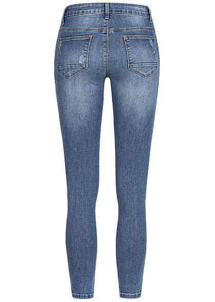 Seventyseven Lifestyle Damen Skinny Zip Jeans 5-Pockets medium blau denim