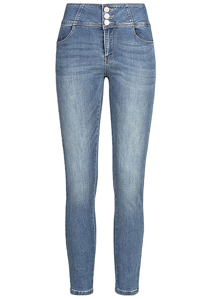 Seventyseven Lifestyle Damen High-Waist Skinny Jeans 4-Pockets med. blau denim