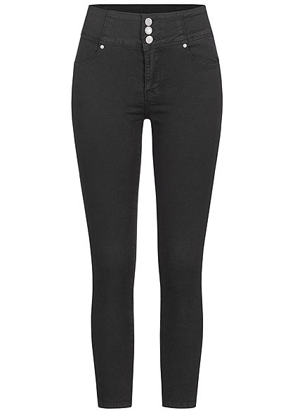 Seventyseven Lifestyle Damen High-Waist Skinny Jeans 4-Pockets schwarz denim