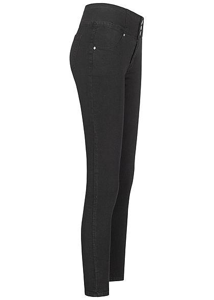 Hailys Damen High-Waist Skinny Jeans Hose 4-Pockets 3er- Knopfleiste schwarz denim