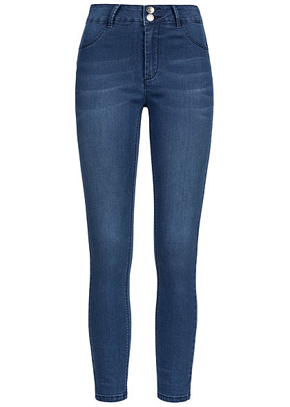 Seventyseven Lifestyle Damen High-Waist Pushup Skinny Jeans 5-Pockets dunkel blau denim