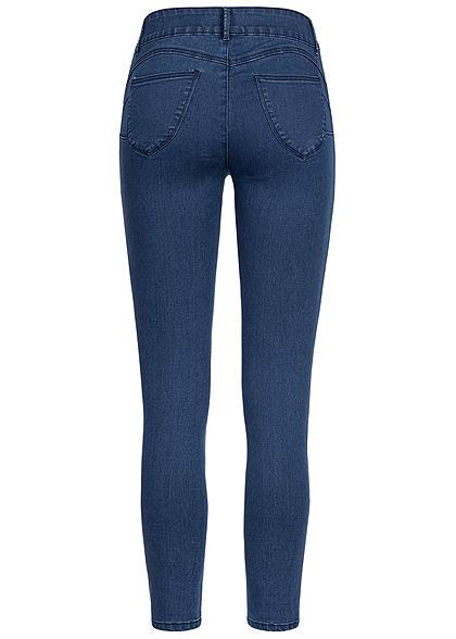 Seventyseven Lifestyle Damen High-Waist Pushup Skinny Jeans 5-Pockets dunkel blau denim
