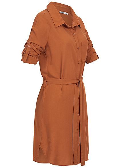 Seventyseven Lifestyle Damen Turn-Up Blusen Kleid Bindegürtel caramel braun