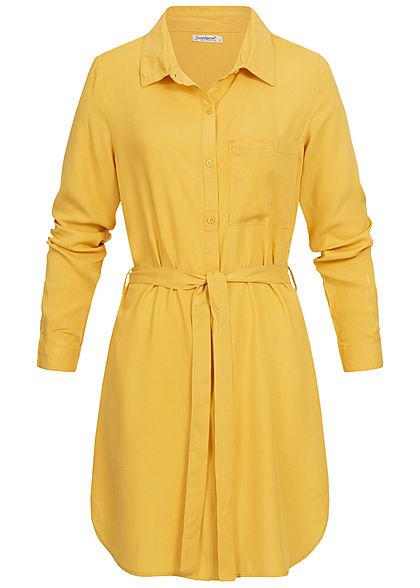 Seventyseven Lifestyle Damen Turn-Up Blusen Kleid Bindegürtel curry gelb