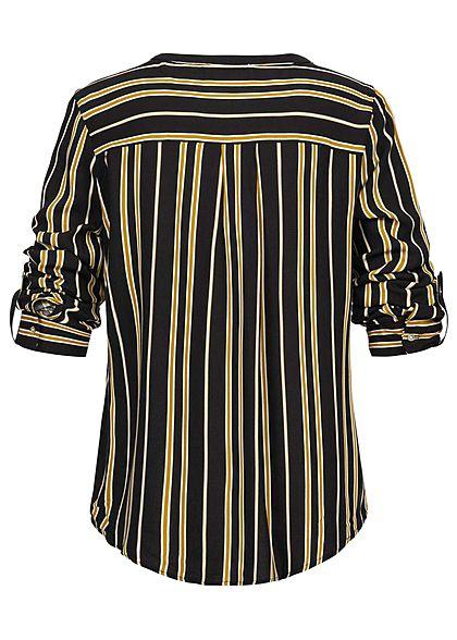 Seventyseven Lifestyle Damen Striped Turn-Up Blouse schwarz gelb
