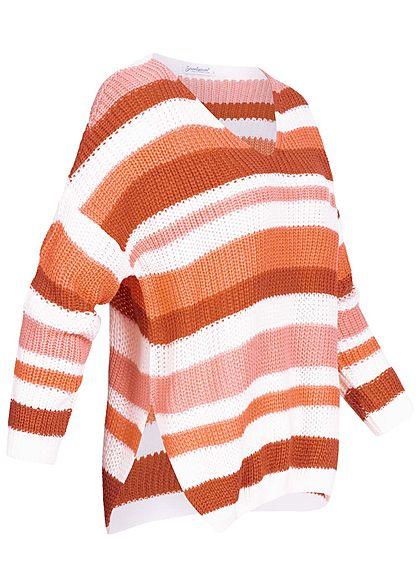 Seventyseven Lifestyle Damen Oversized Strickpullover Streifen caramel braun weiss