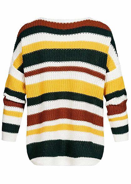 Seventyseven Lifestyle Damen Oversized Strickpullover Streifen gelb multicolor