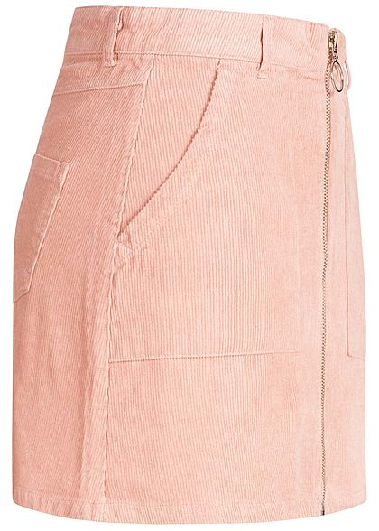 Seventyseven Lifestyle Damen Cord Zip Skirt 4-Pockets rosa