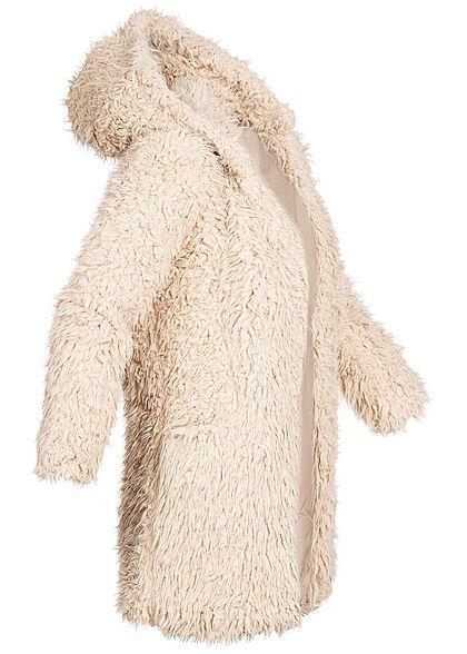 Seventyseven Lifestyle Damen Teddyfell Jacke mit Kapuze 2-Pockets beige
