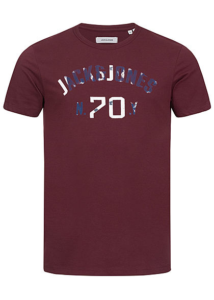 Jack and Jones Herren T-Shirt Logo Print port royal bordeaux rot