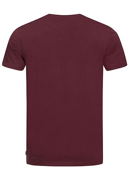 Jack and Jones Herren T-Shirt Logo Print port royal bordeaux rot
