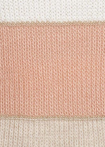Hailys Damen Colorblock Strickpullover Lurex rosa weiss grau