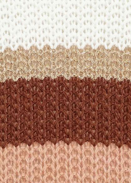 Hailys Damen Strick Cardigan Streifen Muster Lurex rosa weiss braun