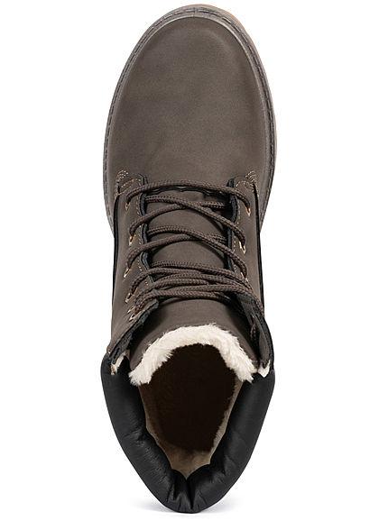 Seventyseven Lifestyle Damen Worker Boots Stiefelette Kunstleder khaki braun