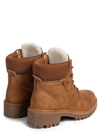 Seventyseven Lifestyle Damen Schuh Worker Boots Stiefelette Kunstleder camel braun
