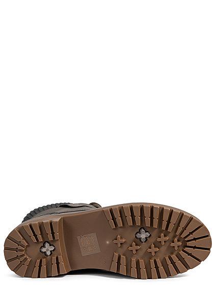 Seventyseven Lifestyle Damen Schuh Worker Boots Stiefelette Kunstleder dunkel grau