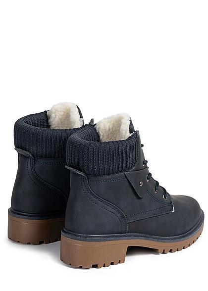 Seventyseven Lifestyle Damen Schuh Worker Boots Stiefelette Kunstleder navy blau