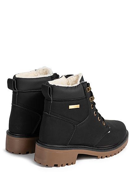 Seventyseven Lifestyle Damen Schuh Worker Boots Stiefelette Kunstleder schwarz