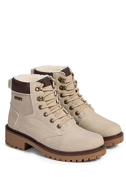 Seventyseven Lifestyle Damen Schuh Worker Boots Stiefelette Kunstleder beige