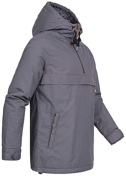 Eight2Nine Herren Pull Over Jacke Kapuze 3-Pockets Zipper vorne dunkel grau