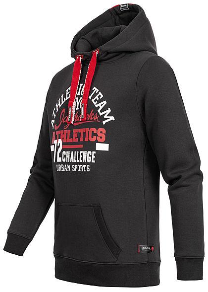 Sublevel Herren Hoodie Kapuze Athletics Print Kängurutasche schwarz weiss rot