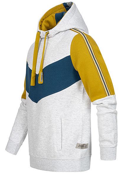 Sublevel Herren 3-Tone Arrow Hoodie Kapuze 2-Pockets hell grau senf gelb blau