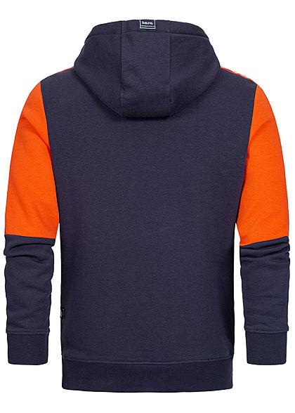 Sublevel Herren 3-Tone Arrow Hoodie Kapuze 2-Pockets dark navy blau rot grau