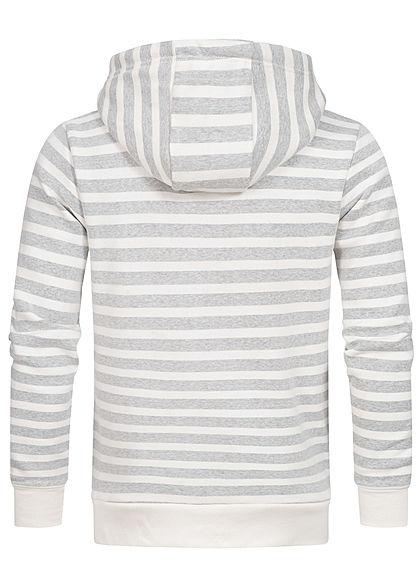 Urban Surface Herren Zip Hoodie Kapuze 2-Pockets Streifen off weiss grau