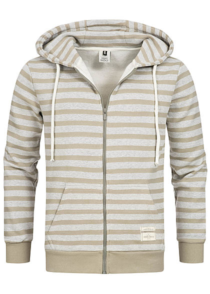 Urban Surface Herren Zip Hoodie Kapuze 2 Pockets Streifen olive grün grau