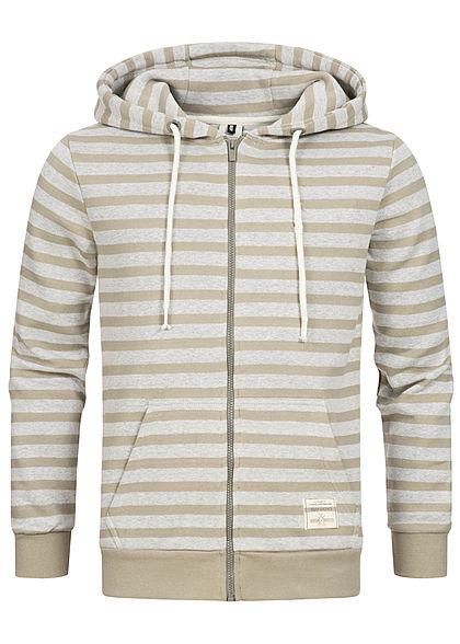 Urban Surface Herren Zip Hoodie Kapuze 2-Pockets Streifen olive grün grau