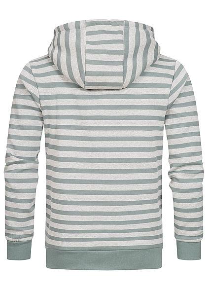 Urban Surface Herren Zip Hoodie Kapuze 2-Pockets Streifen lead blau grau