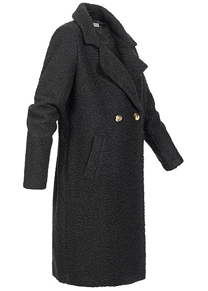 Hailys Damen Boucle Mantel Jacke 2-Pockets schwarz