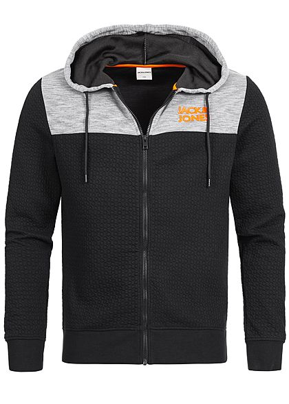 Jack and Jones Herren 2-Tone Sweat Zip Hoodie Kapuze schwarz grau - Art.-Nr.: 19104305