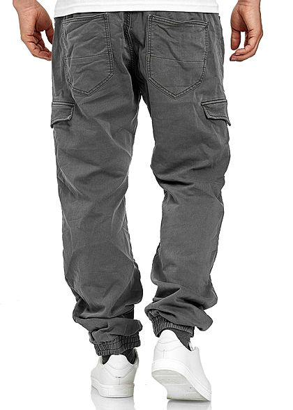 Urban Surface Herren Sweat Cargo Jeans 7-Pockets vintage dunkel grau