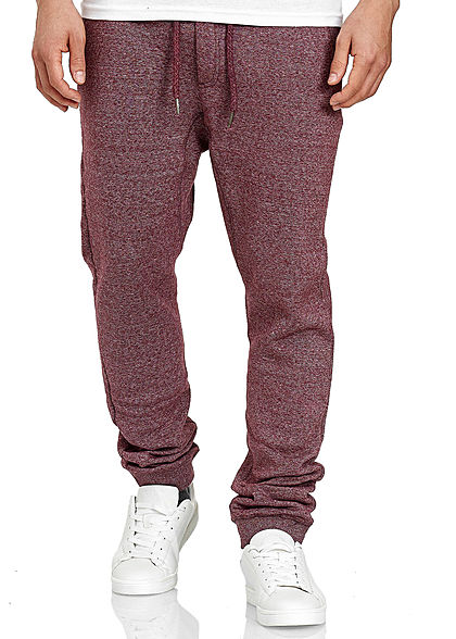Eight2Nine Herren Melange Jogging Hose 4-Pockets Tunnelzug rot