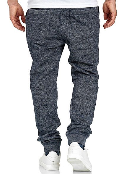 Eight2Nine Herren Melange Jogging Hose 4-Pockets Tunnelzug blau