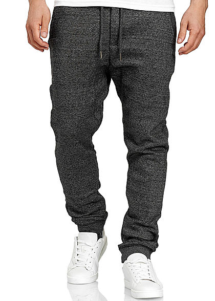 Eight2Nine Herren Melange Jogging Hose 4-Pockets Tunnelzug schwarz