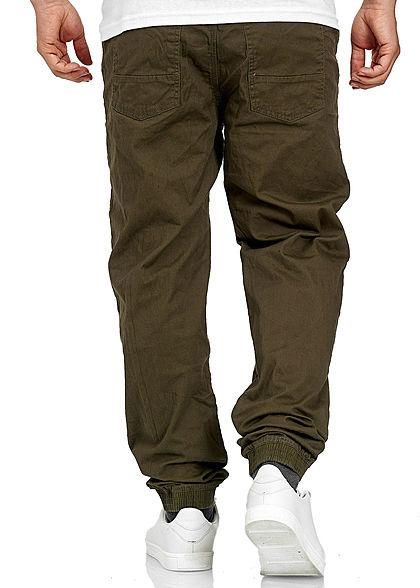 Stitch & Soul Herren Chino Jeans Hose 5-Pockets Tunnelzug ivy olive grün