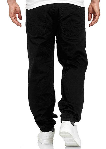 Stitch & Soul Herren Chino Jeans Hose 5-Pockets Tunnelzug schwarz