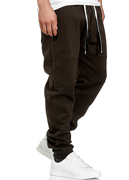 Stitch & Soul Herren Jogging Hose 4-Pockets Tunnelzug olive schwarz