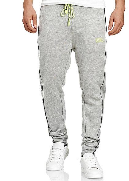 Hailys Herren Jogging Hose 3-Pockets Neon Tunnelzug hell grau schwarz gelb