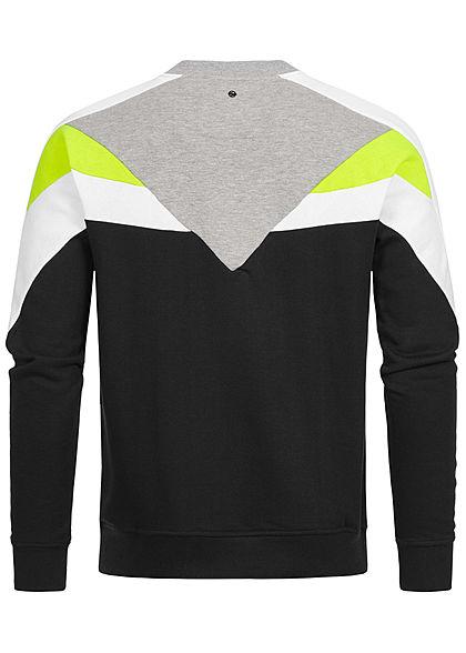Hailys Herren Arrow Colorblock Sweater schwarz neon gelb grau
