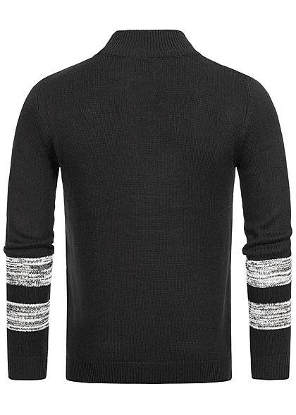 Hailys Herren High-Neck Strick Pullover schwarz grau