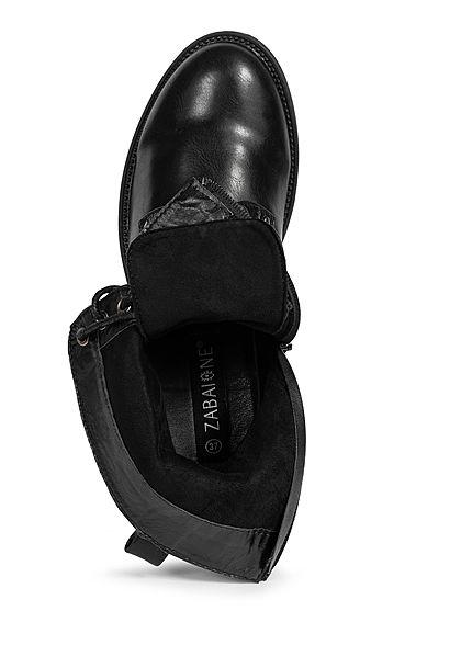 Zabaione Damen Schuh Worker Boots Schnürstiefelette Kunstleder schwarz