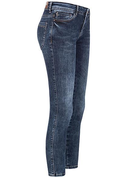 Zabaione Damen Skinny Jeans Hose 5-Pockets Regular Waist indigo dunkel blau denim