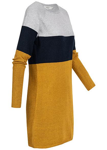 ONLY Damen NOOS Colorblock Kleid chai tea gelb grau blau